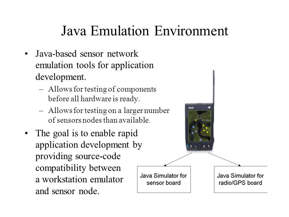 Java Emulation Environment Java-based sensor network emulation tools for application development.