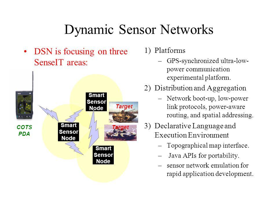 DSN is focusing on three SenseIT areas: 1) Platforms –GPS-synchronized ultra-low- power communication experimental platform.
