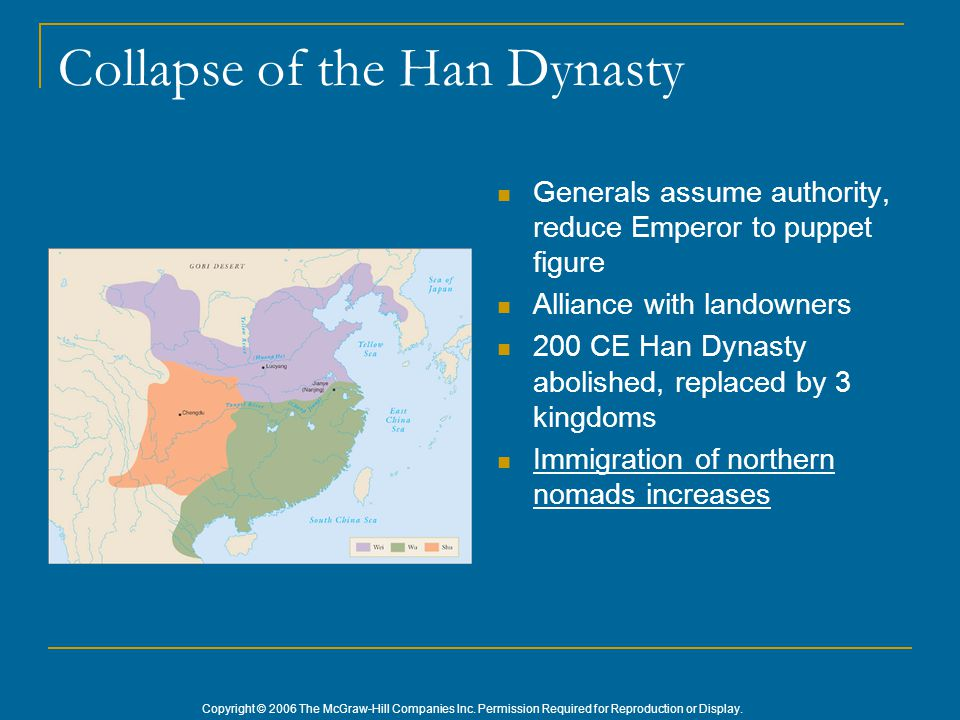 Copyright © 2006 The McGraw-Hill Companies Inc. Permission Required for Reproduction or Display. Collapse of the Han Dynasty Generals assume authority