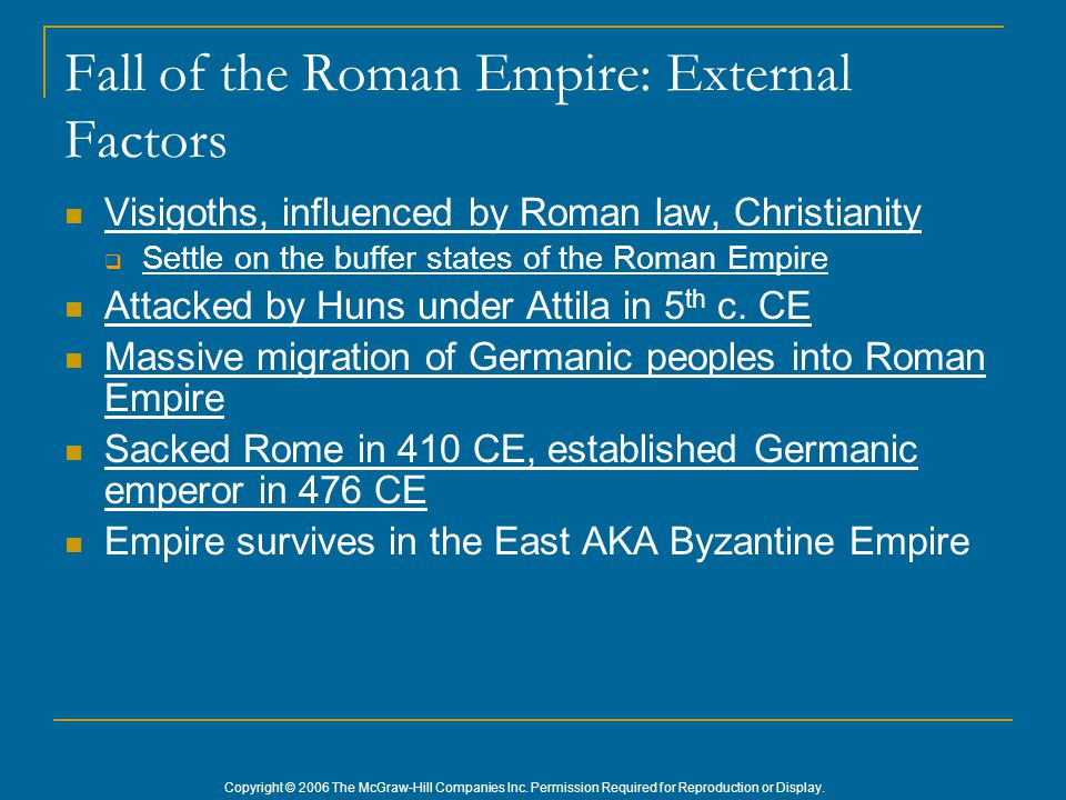 Fall of the Roman Empire: External Factors Visigoths, influenced by Roman law, Christianity  Settle on the buffer states of the Roman Empire Attacked
