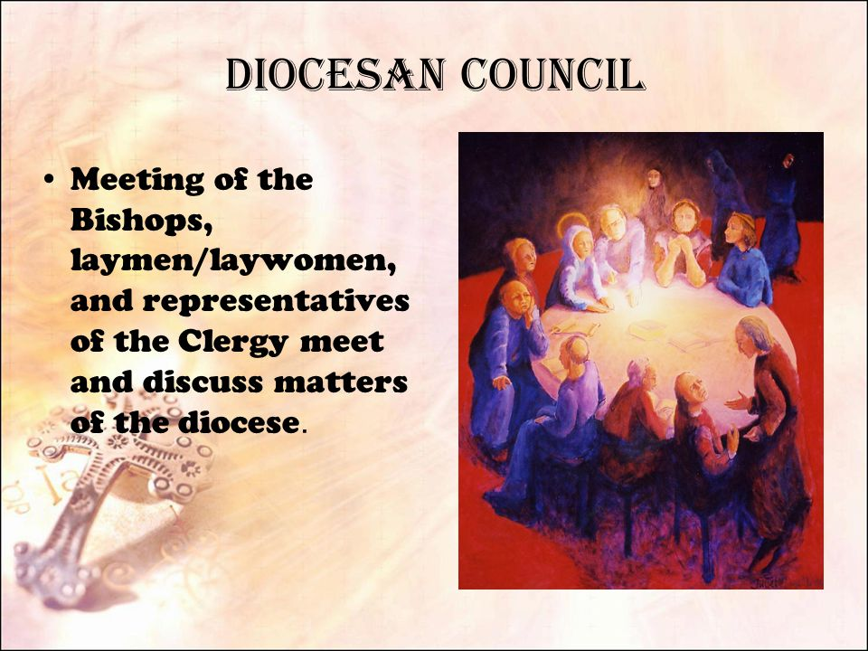Diocesan Council Meeting of the Bishops, laymen/laywomen, and representatives of the Clergy meet and discuss matters of the diocese.