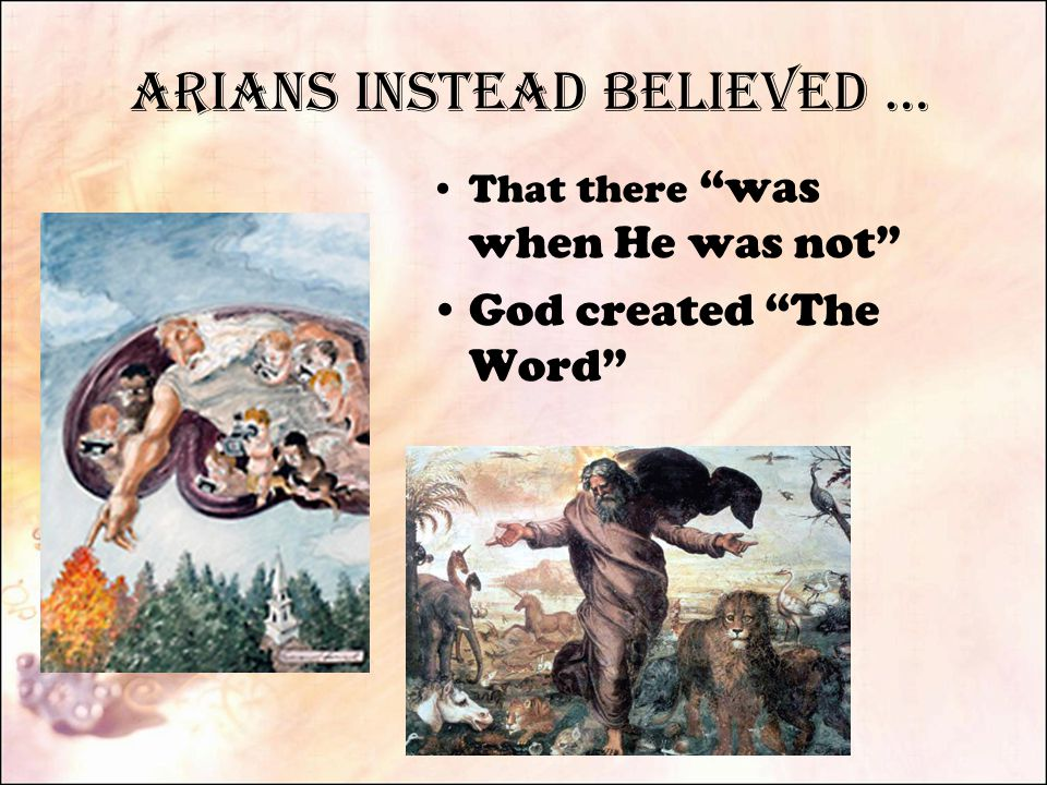 Arians Instead Believed … That there was when He was not God created The Word