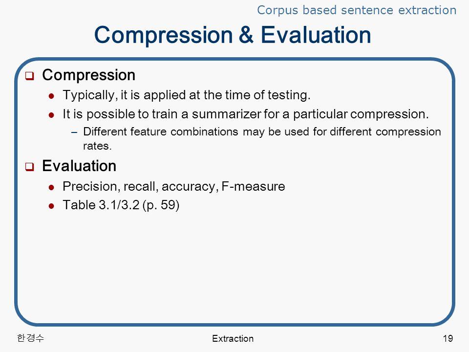한경수 Extraction19 Compression & Evaluation  Compression Typically, it is applied at the time of testing.