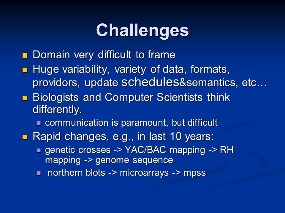 Challenges Domain very difficult to frame Domain very difficult to frame Huge variability, variety of data, formats, providors, update schedules &semantics, etc… Huge variability, variety of data, formats, providors, update schedules &semantics, etc… Biologists and Computer Scientists think differently.