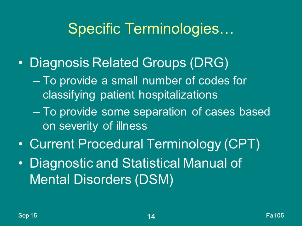 14 Sep 15Fall 05 Specific Terminologies… Diagnosis Related Groups (DRG) –To provide a small number of codes for classifying patient hospitalizations –To provide some separation of cases based on severity of illness Current Procedural Terminology (CPT) Diagnostic and Statistical Manual of Mental Disorders (DSM)