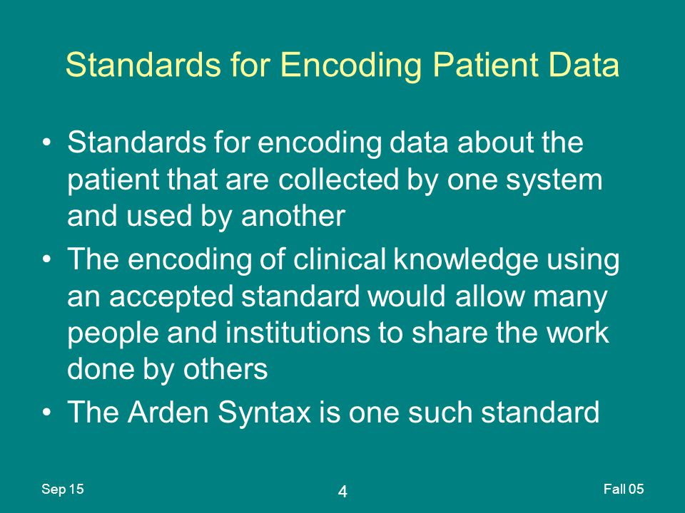 5 Sep 15Fall 05 Standards Development Process Ad hoc method –American College of Radiology/National Electrical Manufacturers Association DICOM standard for medical imaging De facto method –Single vendor monopoly (Microsoft Windows Operating System)