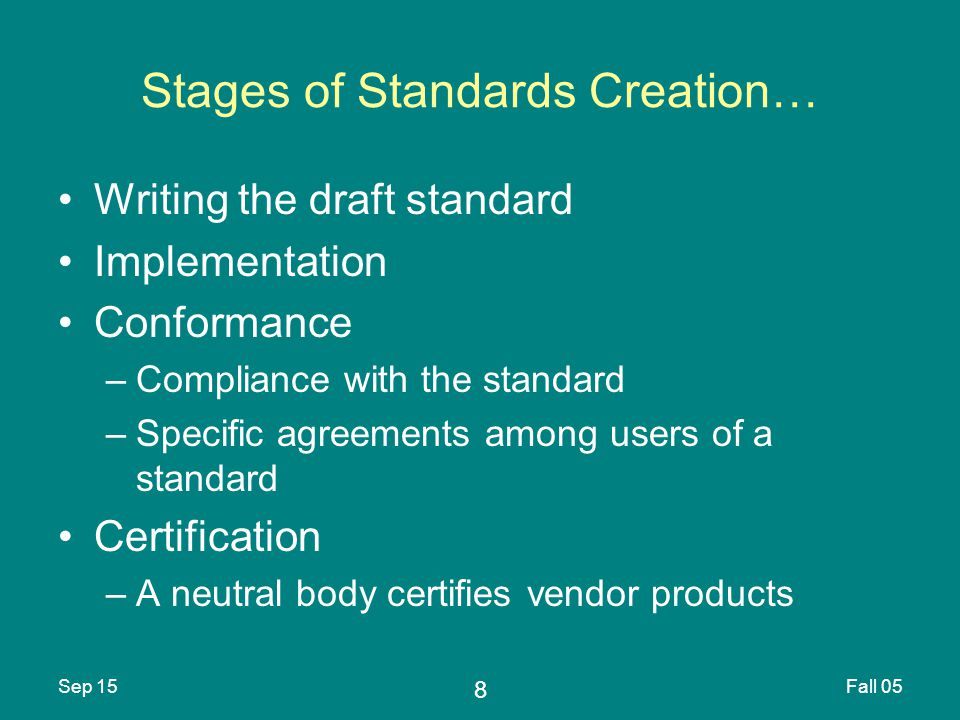8 Sep 15Fall 05 Stages of Standards Creation… Writing the draft standard Implementation Conformance –Compliance with the standard –Specific agreements among users of a standard Certification –A neutral body certifies vendor products