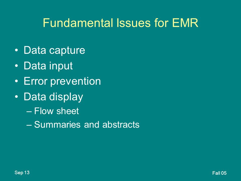 Sep 13 Fall 05 Fundamental Issues for EMR Data capture Data input Error prevention Data display –Flow sheet –Summaries and abstracts