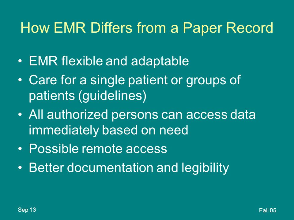 Sep 13 Fall 05 How EMR Differs from a Paper Record EMR flexible and adaptable Care for a single patient or groups of patients (guidelines) All authorized persons can access data immediately based on need Possible remote access Better documentation and legibility