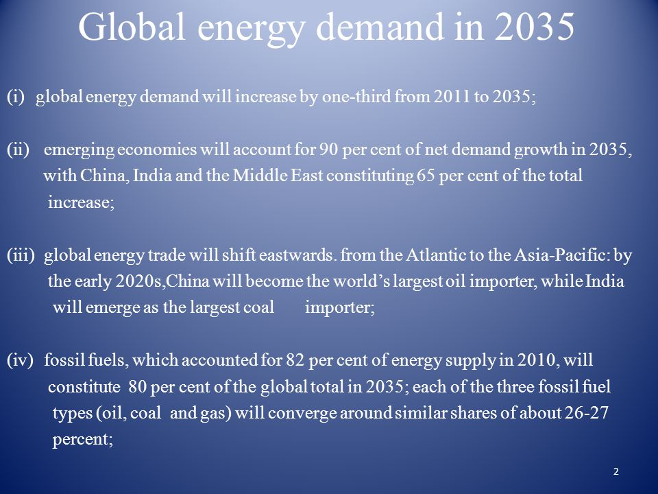 Global energy demand in 2035 (i)global energy demand will increase by one-third from 2011 to 2035; (ii)emerging economies will account for 90 per cent of net demand growth in 2035, with China, India and the Middle East constituting 65 per cent of the total increase; (iii)global energy trade will shift eastwards.