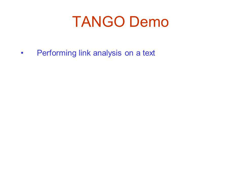 TANGO Demo Performing link analysis on a text