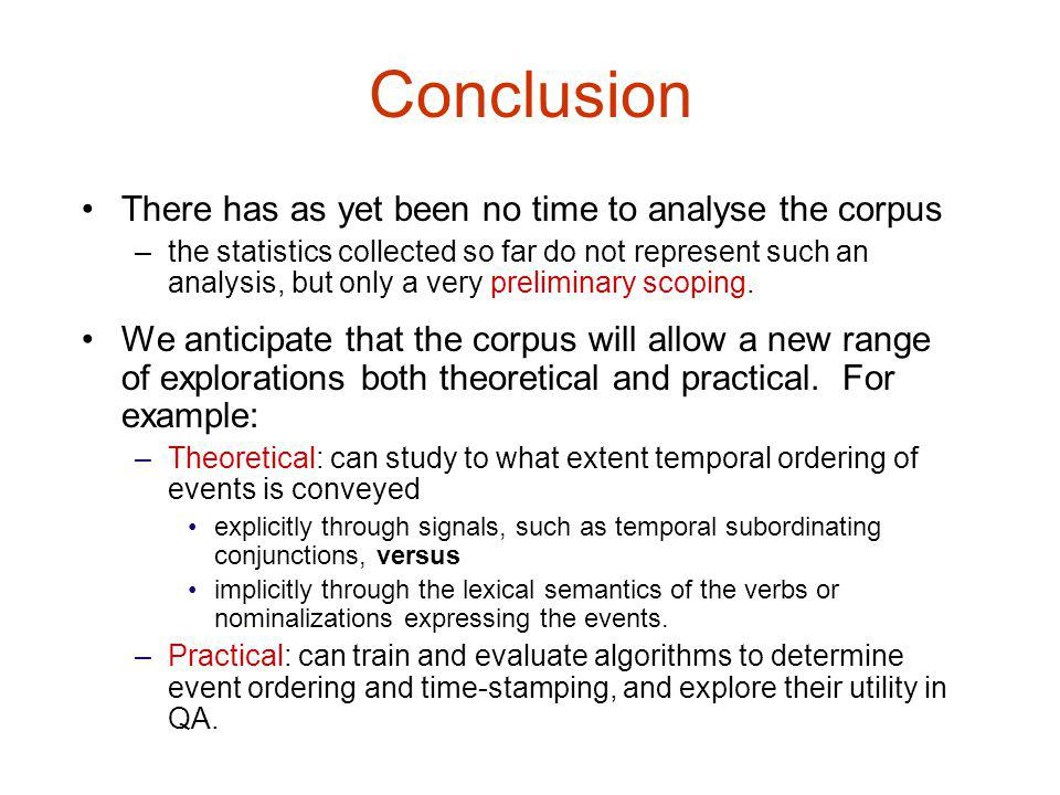 Conclusion There has as yet been no time to analyse the corpus –the statistics collected so far do not represent such an analysis, but only a very preliminary scoping.