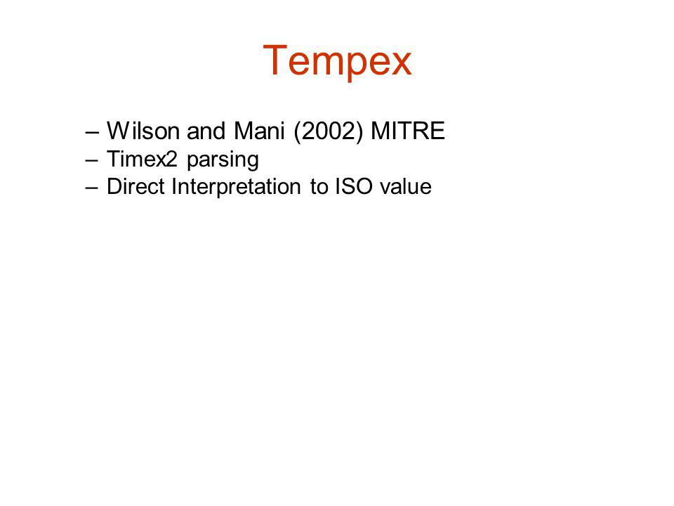 Tempex –Wilson and Mani (2002) MITRE –Timex2 parsing –Direct Interpretation to ISO value