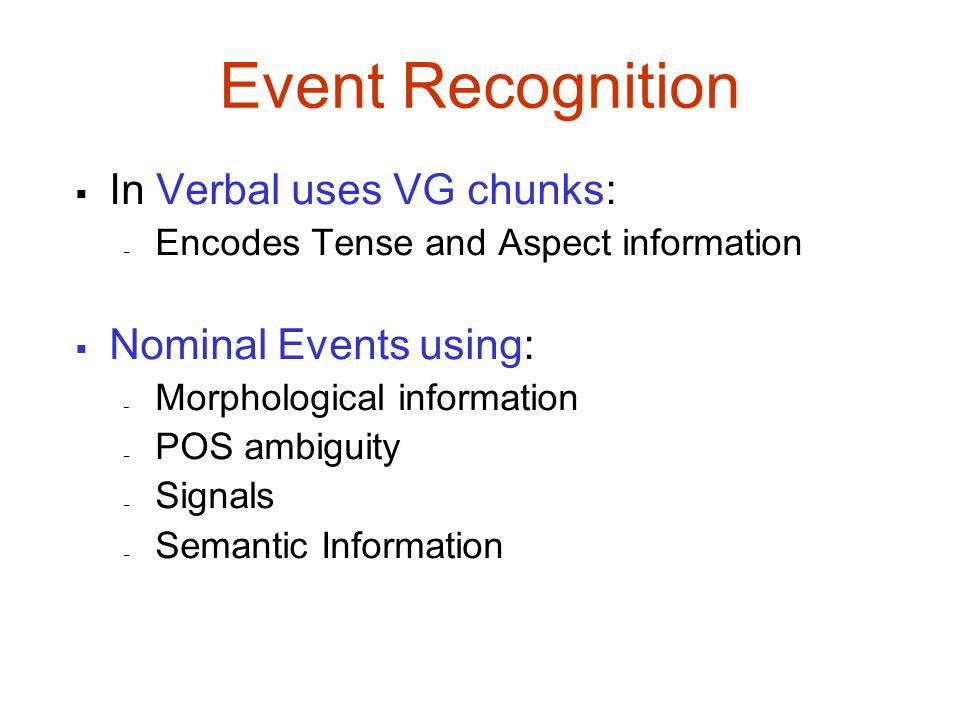 Event Recognition  In Verbal uses VG chunks: – Encodes Tense and Aspect information  Nominal Events using: – Morphological information – POS ambiguity – Signals – Semantic Information