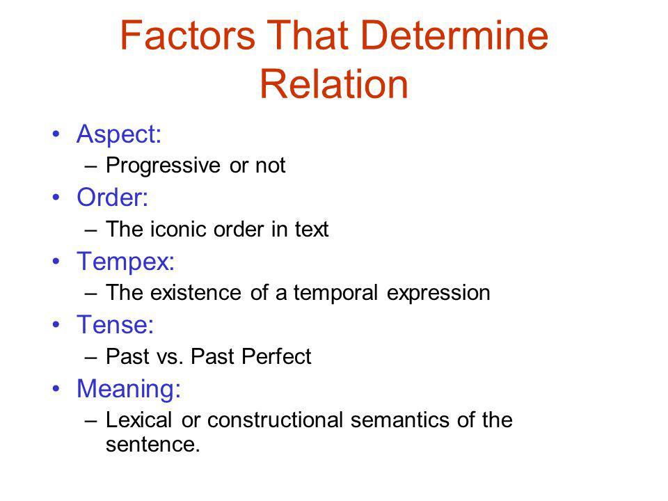 Factors That Determine Relation Aspect: –Progressive or not Order: –The iconic order in text Tempex: –The existence of a temporal expression Tense: –Past vs.