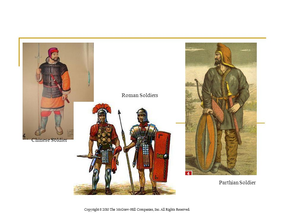Copyright © 2010 The McGraw-Hill Companies, Inc. All Rights Reserved. Chinese Soldier Roman Soldiers Parthian Soldier
