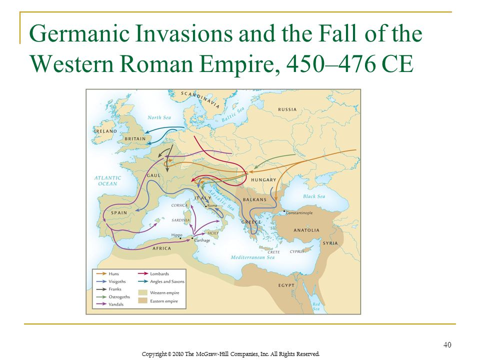 Copyright © 2010 The McGraw-Hill Companies, Inc. All Rights Reserved. Germanic Invasions and the Fall of the Western Roman Empire, 450–476 CE 40