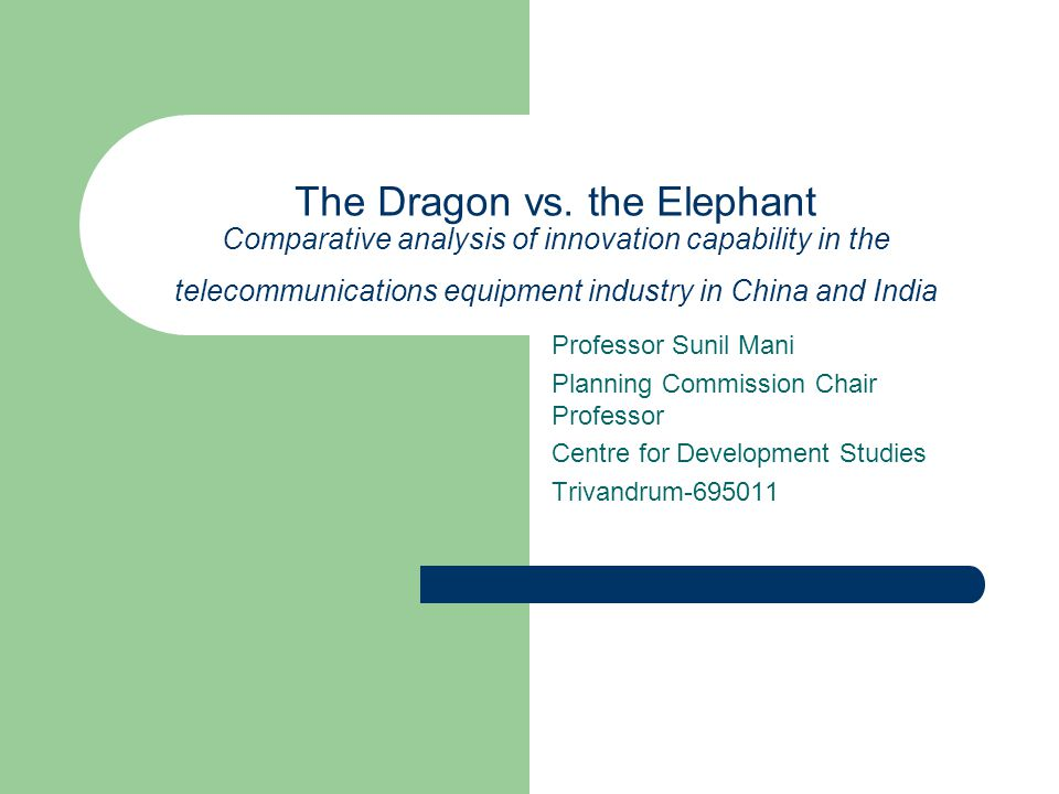 Sunil Mani, 3L Lecture Series, CMD, February 8 2006 22 Ratio of Chinese to Indian investments in Telecom R&D, 2000-2003
