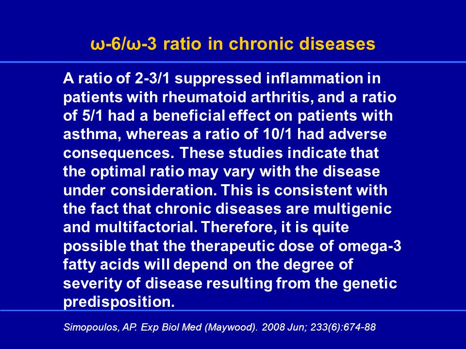 ω-6/ω-3 ratio in chronic diseases Simopoulos, AP. Exp Biol Med (Maywood).