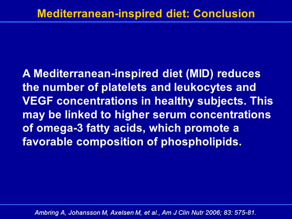 Mediterranean-inspired diet: Conclusion A Mediterranean-inspired diet (MID) reduces the number of platelets and leukocytes and VEGF concentrations in healthy subjects.