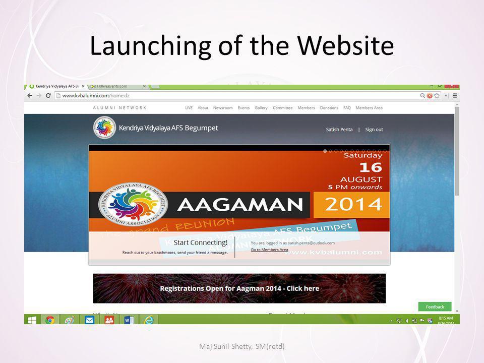 Launching of the Website Maj Sunil Shetty, SM(retd)