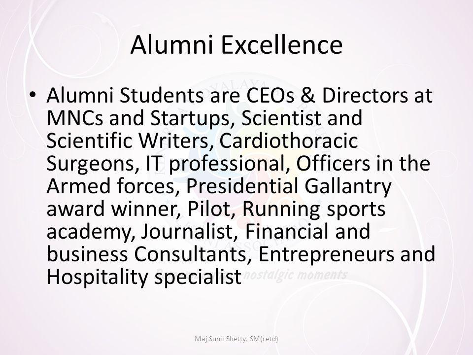 Alumni Excellence Alumni Students are CEOs & Directors at MNCs and Startups, Scientist and Scientific Writers, Cardiothoracic Surgeons, IT professional, Officers in the Armed forces, Presidential Gallantry award winner, Pilot, Running sports academy, Journalist, Financial and business Consultants, Entrepreneurs and Hospitality specialist Maj Sunil Shetty, SM(retd)