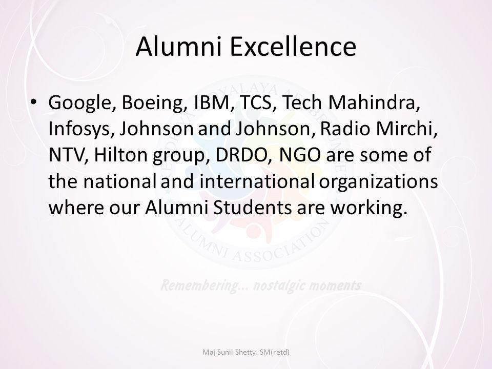 Alumni Excellence Google, Boeing, IBM, TCS, Tech Mahindra, Infosys, Johnson and Johnson, Radio Mirchi, NTV, Hilton group, DRDO, NGO are some of the national and international organizations where our Alumni Students are working.