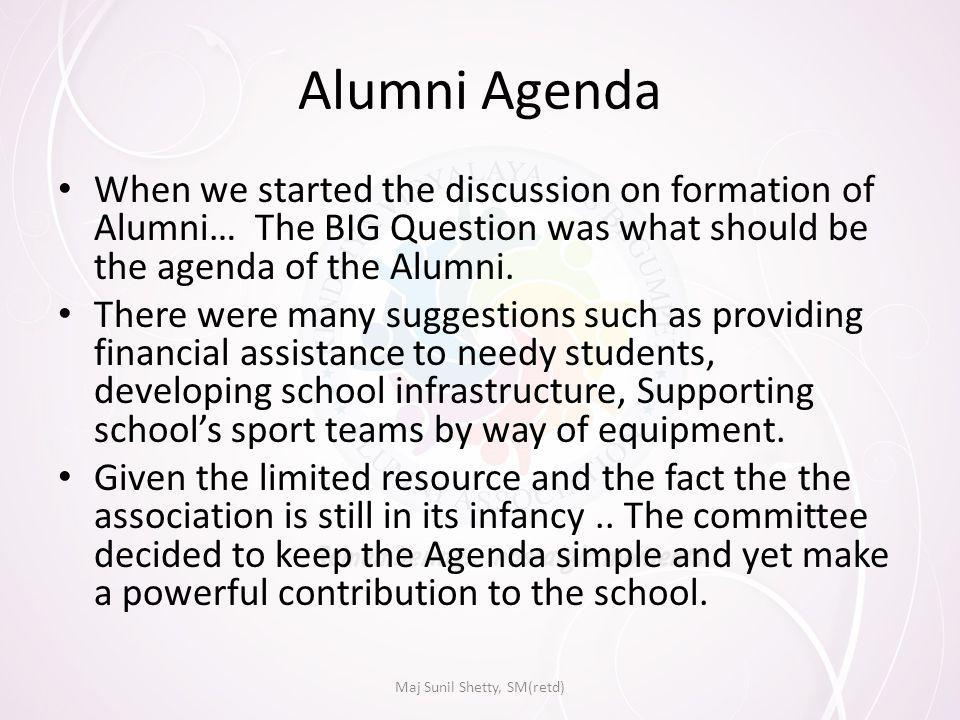 Alumni Agenda When we started the discussion on formation of Alumni… The BIG Question was what should be the agenda of the Alumni.