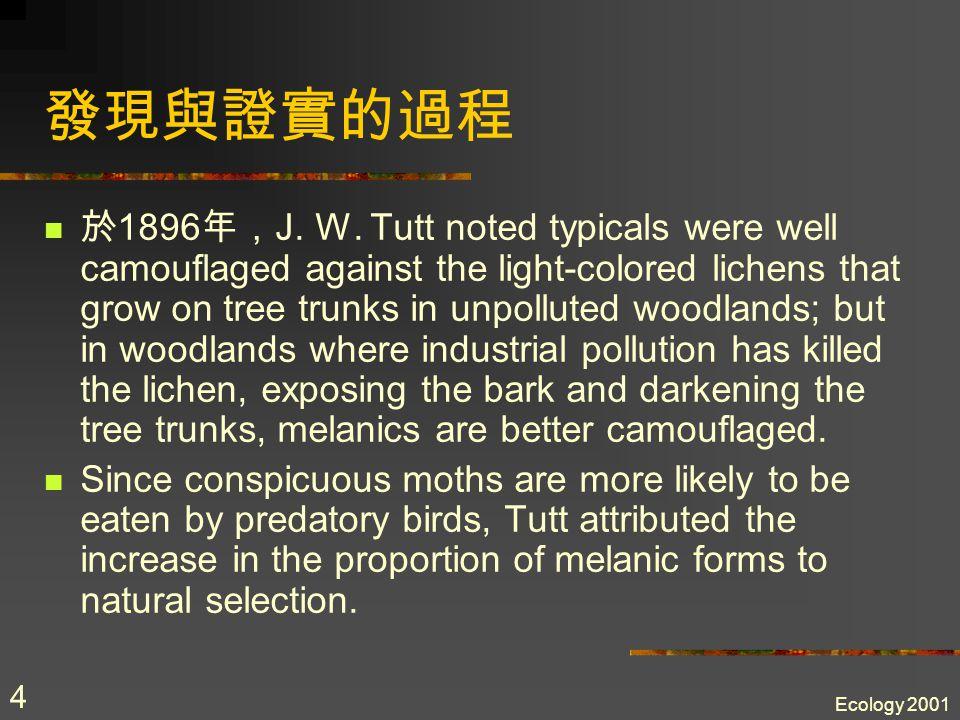 Ecology 2001 4 發現與證實的過程 於 1896 年, J.W.