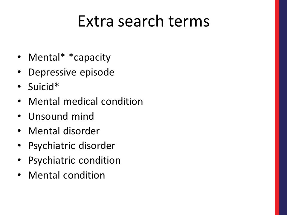 Even more search terms Depess* Anxi* PTSD Panic Bipolar Excited delirium