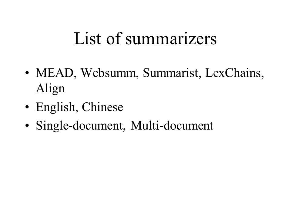 List of summarizers MEAD, Websumm, Summarist, LexChains, Align English, Chinese Single-document, Multi-document