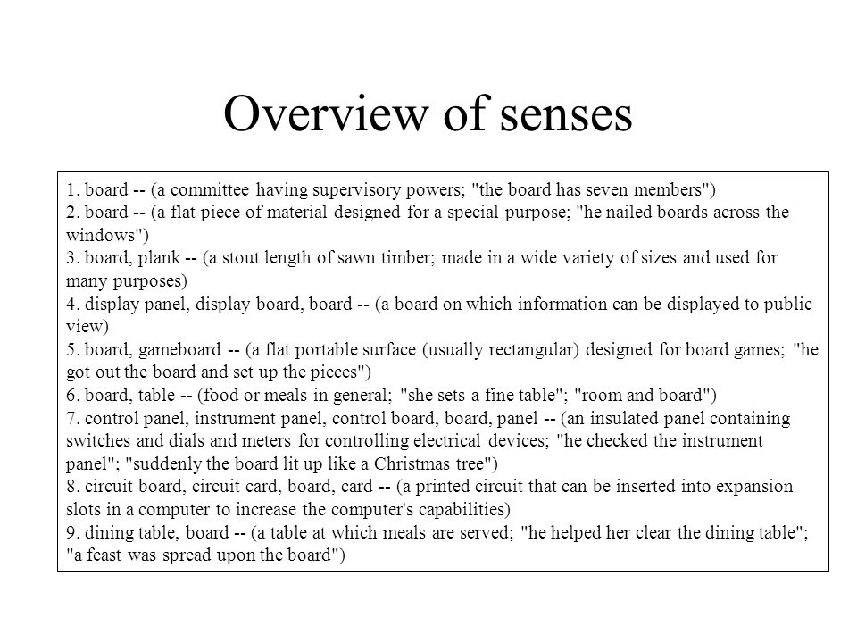 Overview of senses 1.