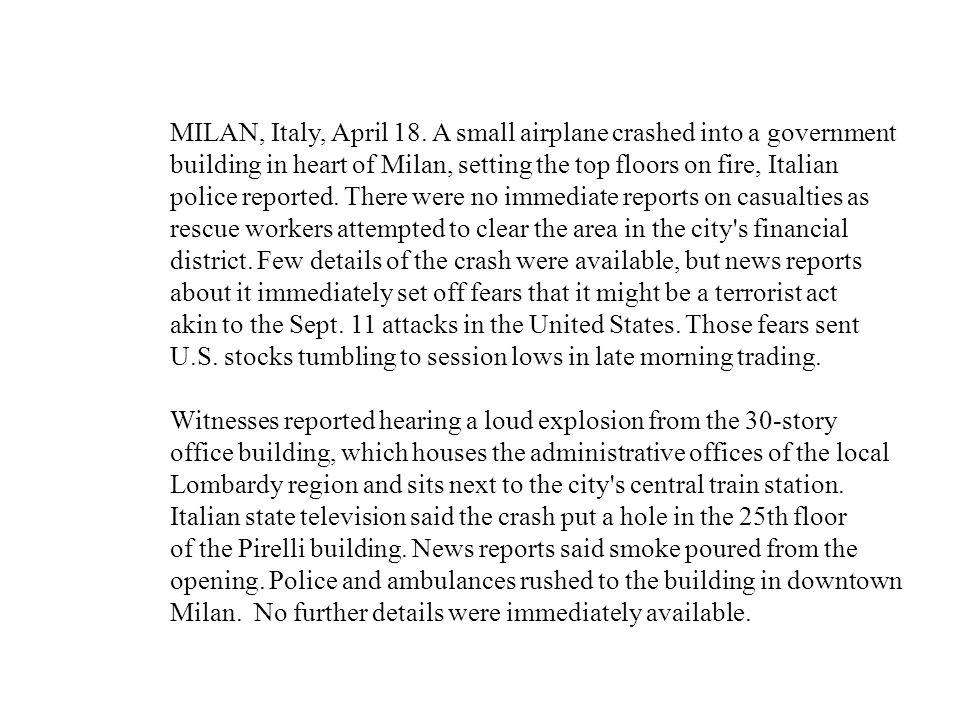 MILAN, Italy, April 18.