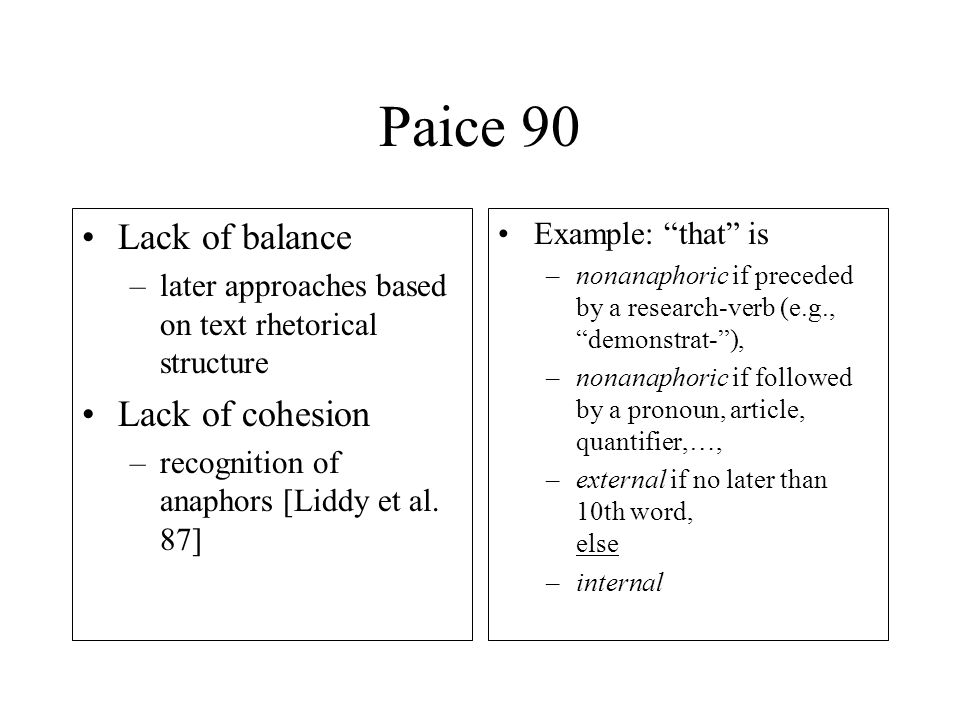 Paice 90 Lack of balance –later approaches based on text rhetorical structure Lack of cohesion –recognition of anaphors [Liddy et al.