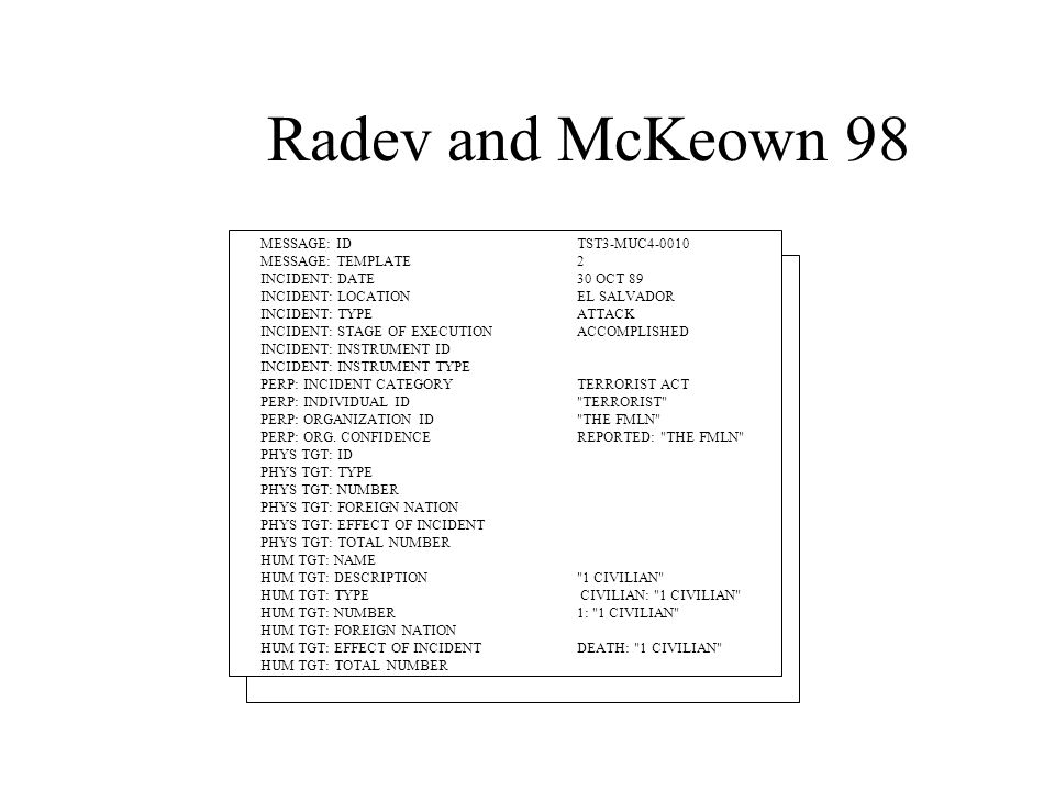 Radev and McKeown 98 MESSAGE: IDTST3-MUC4-0010 MESSAGE: TEMPLATE2 INCIDENT: DATE30 OCT 89 INCIDENT: LOCATIONEL SALVADOR INCIDENT: TYPEATTACK INCIDENT: STAGE OF EXECUTIONACCOMPLISHED INCIDENT: INSTRUMENT ID INCIDENT: INSTRUMENT TYPE PERP: INCIDENT CATEGORYTERRORIST ACT PERP: INDIVIDUAL ID TERRORIST PERP: ORGANIZATION ID THE FMLN PERP: ORG.