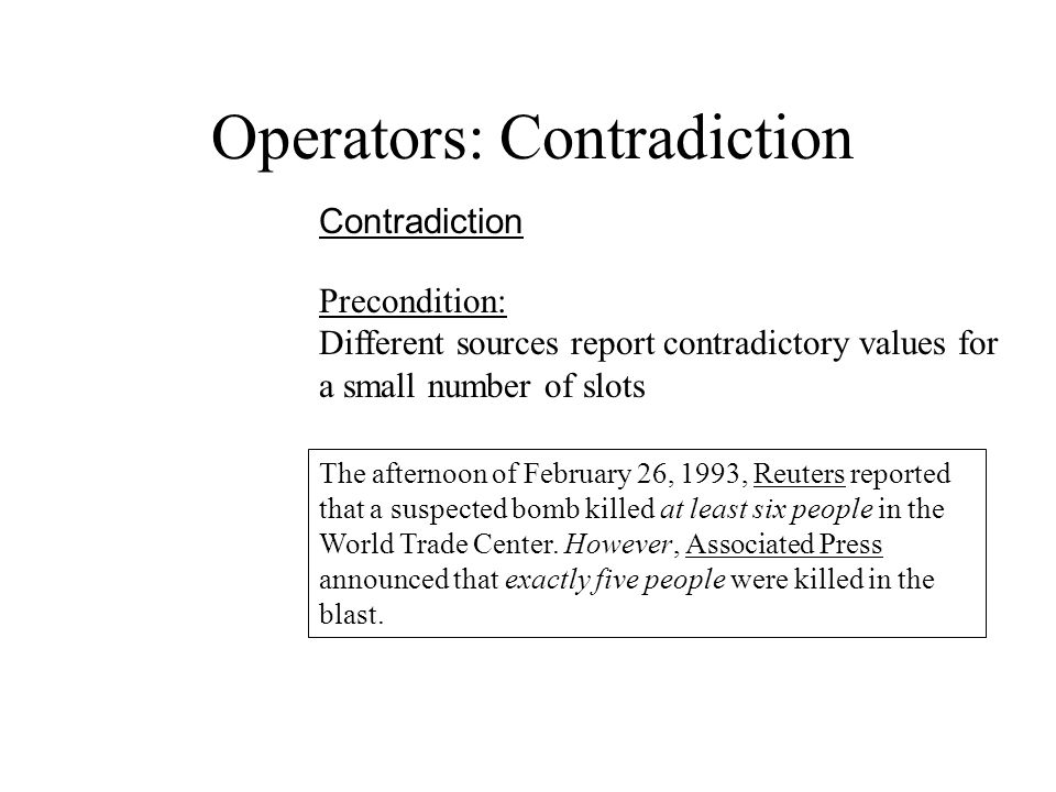Operators: Contradiction Contradiction The afternoon of February 26, 1993, Reuters reported that a suspected bomb killed at least six people in the World Trade Center.