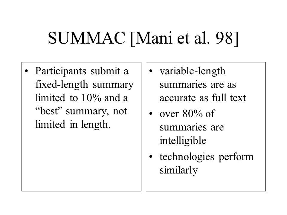 SUMMAC [Mani et al.