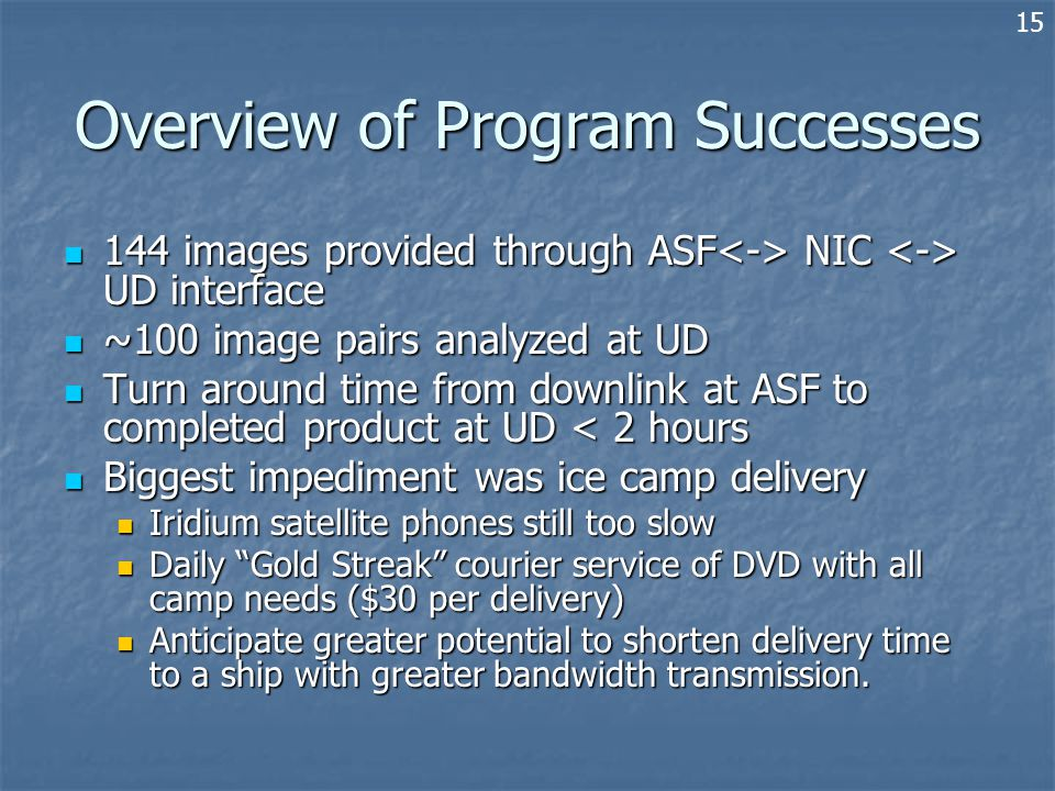 Overview of Program Successes 144 images provided through ASF NIC UD interface 144 images provided through ASF NIC UD interface ~100 image pairs analyzed at UD ~100 image pairs analyzed at UD Turn around time from downlink at ASF to completed product at UD < 2 hours Turn around time from downlink at ASF to completed product at UD < 2 hours Biggest impediment was ice camp delivery Biggest impediment was ice camp delivery Iridium satellite phones still too slow Iridium satellite phones still too slow Daily Gold Streak courier service of DVD with all camp needs ($30 per delivery) Daily Gold Streak courier service of DVD with all camp needs ($30 per delivery) Anticipate greater potential to shorten delivery time to a ship with greater bandwidth transmission.