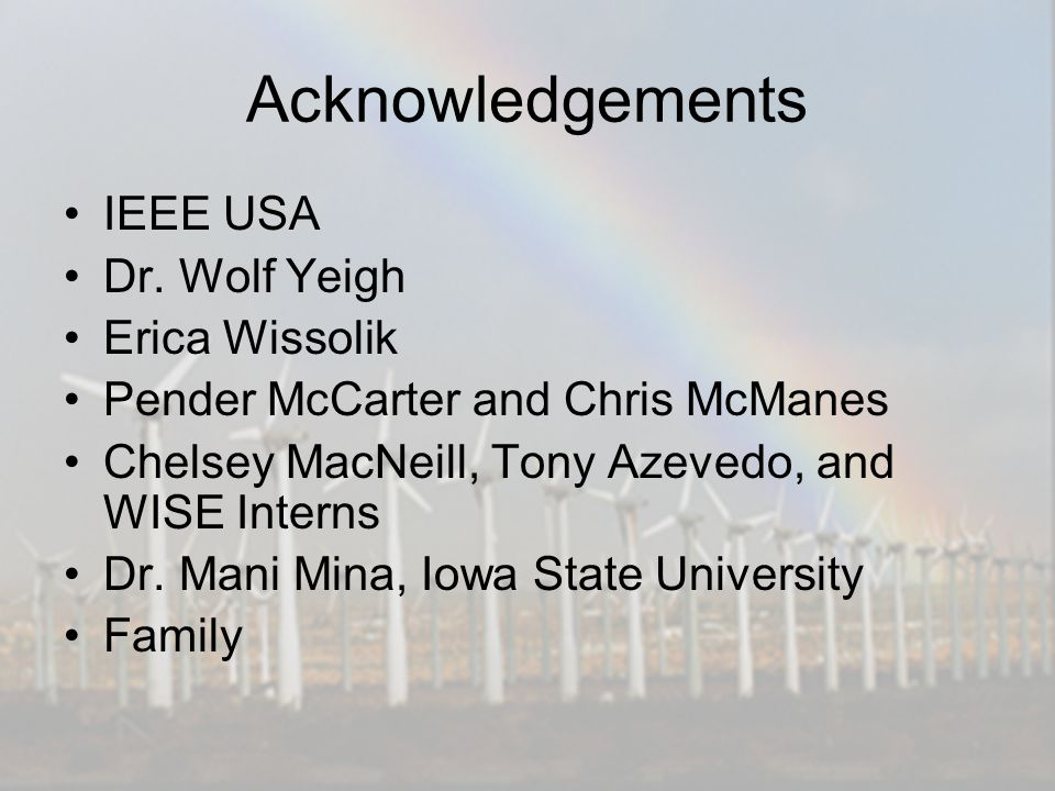 Acknowledgements IEEE USA Dr.