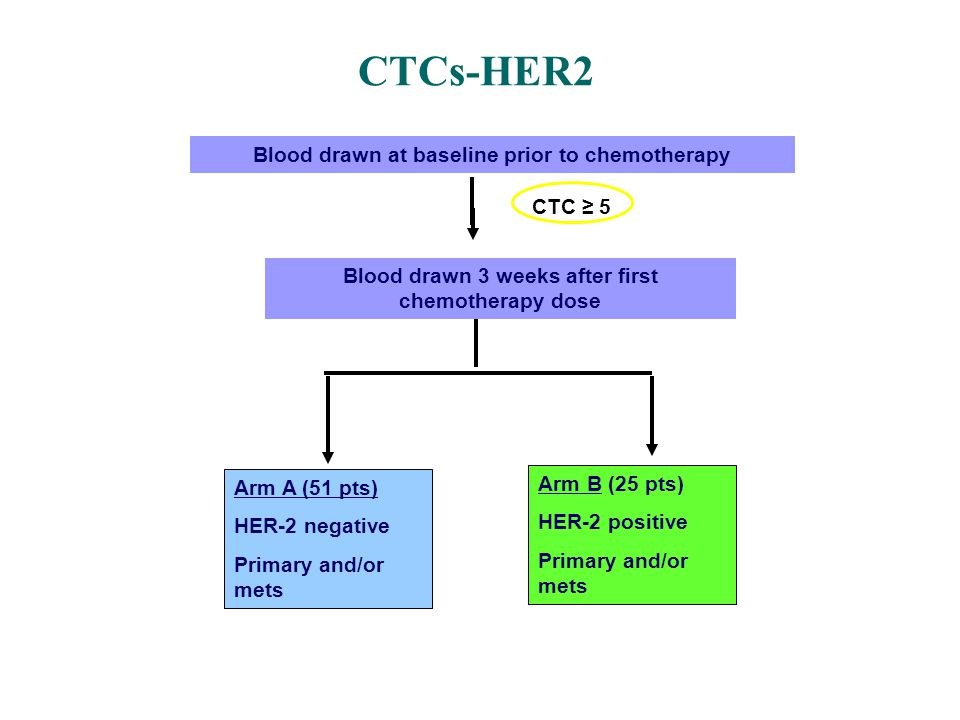Blood drawn at baseline prior to chemotherapy Arm A (51 pts) HER-2 negative Primary and/or mets Arm B (25 pts) HER-2 positive Primary and/or mets CTCs-HER2 CTC ≥ 5 Blood drawn 3 weeks after first chemotherapy dose