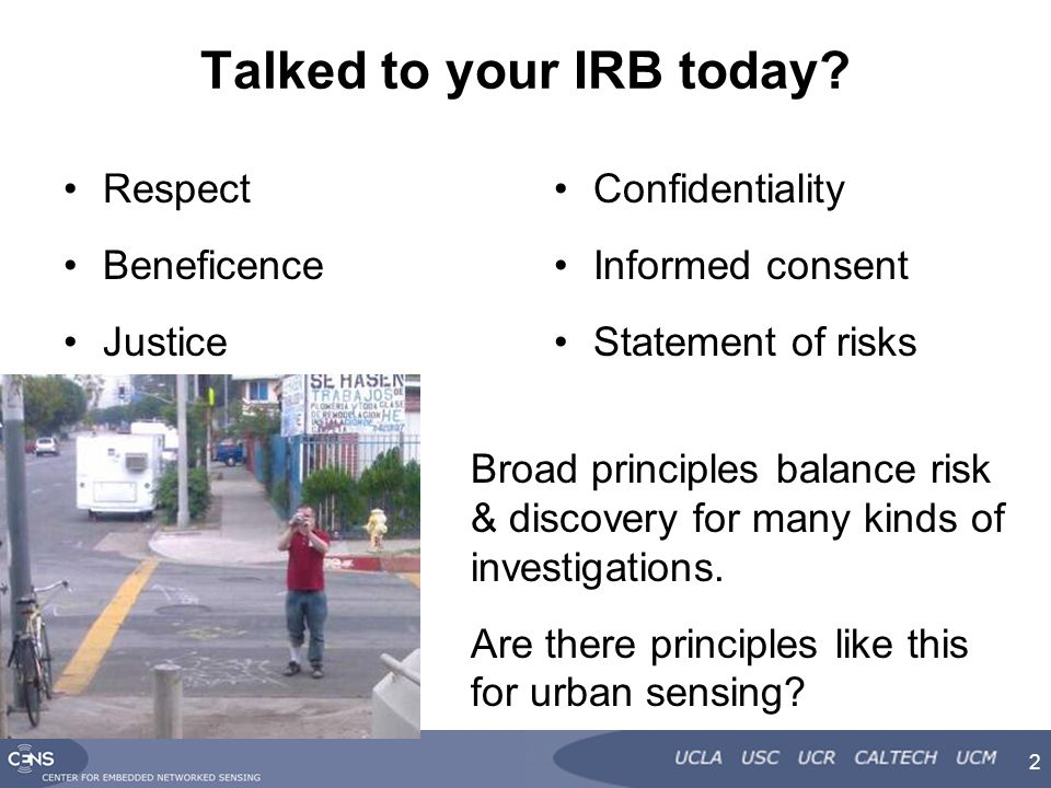 Talked to your IRB today.