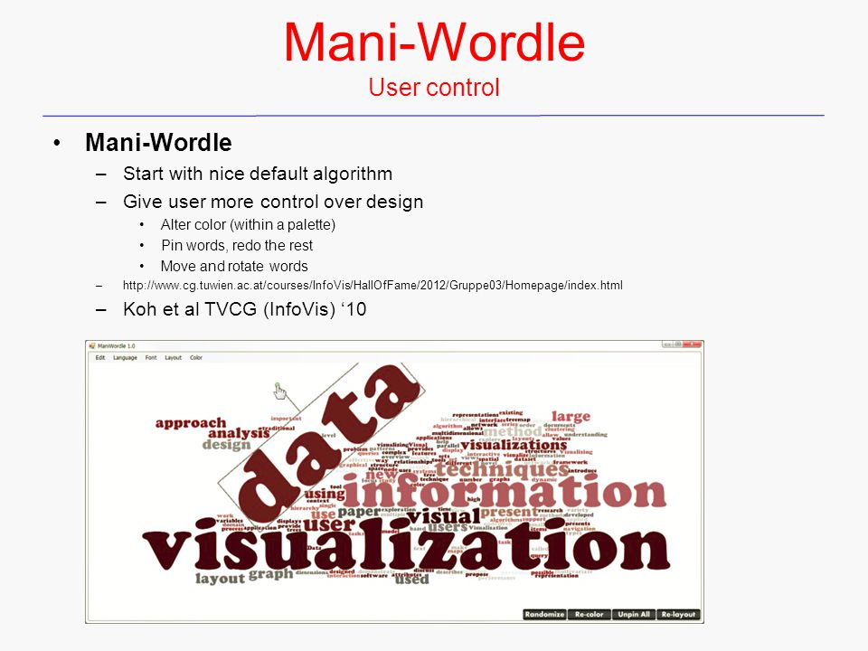 Mani-Wordle User control Mani-Wordle –Start with nice default algorithm –Give user more control over design Alter color (within a palette) Pin words, redo the rest Move and rotate words –http://www.cg.tuwien.ac.at/courses/InfoVis/HallOfFame/2012/Gruppe03/Homepage/index.html –Koh et al TVCG (InfoVis) '10
