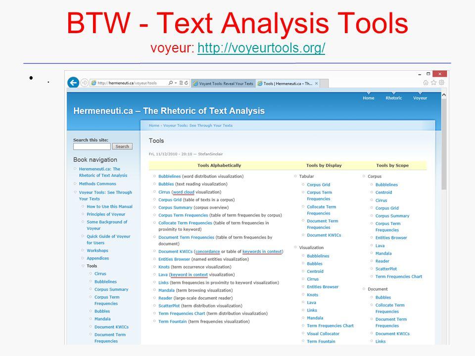 BTW - Text Analysis Tools voyeur: http://voyeurtools.org/http://voyeurtools.org/.