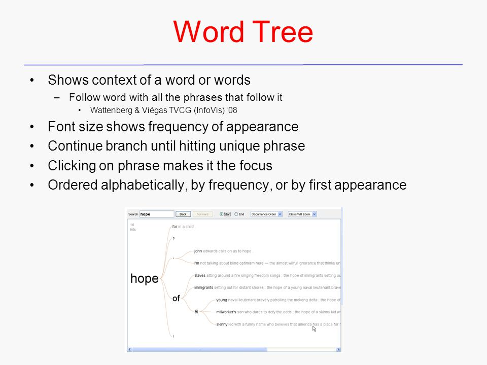 Word Tree Shows context of a word or words –Follow word with all the phrases that follow it Wattenberg & Viégas TVCG (InfoVis) '08 Font size shows frequency of appearance Continue branch until hitting unique phrase Clicking on phrase makes it the focus Ordered alphabetically, by frequency, or by first appearance