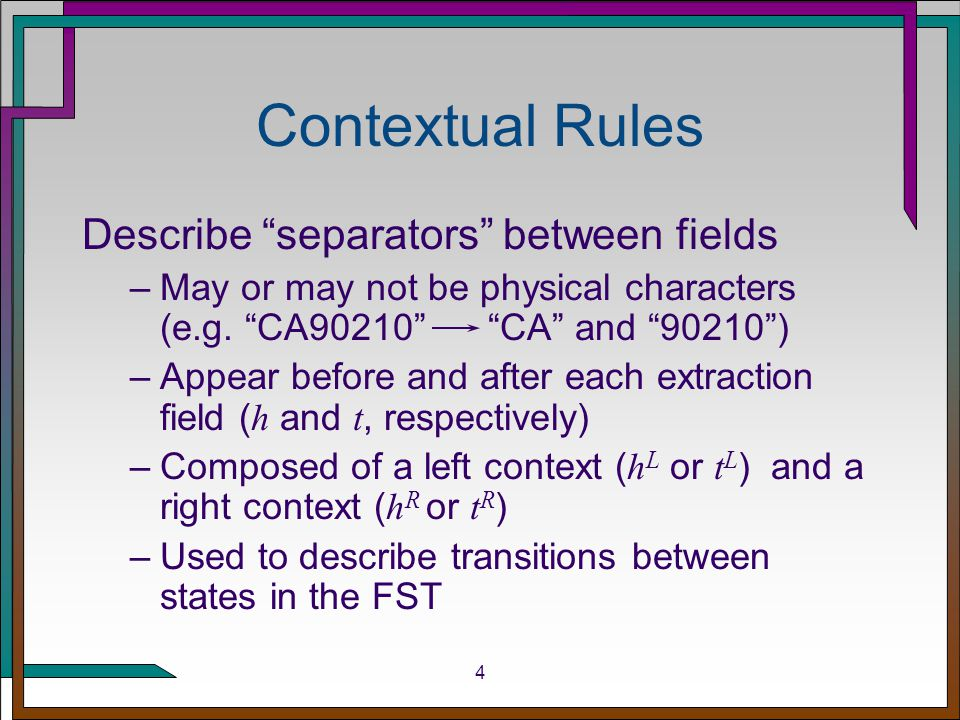 5 Finite-State Transducer Example application: faculty web pages Mani Chandy, Professor of Computer Science and Executive Officer for Computer Science … Fred Thompson, Professor Emeritus of Applied Philosophy and Computer Science b U _U_U N _N_N .