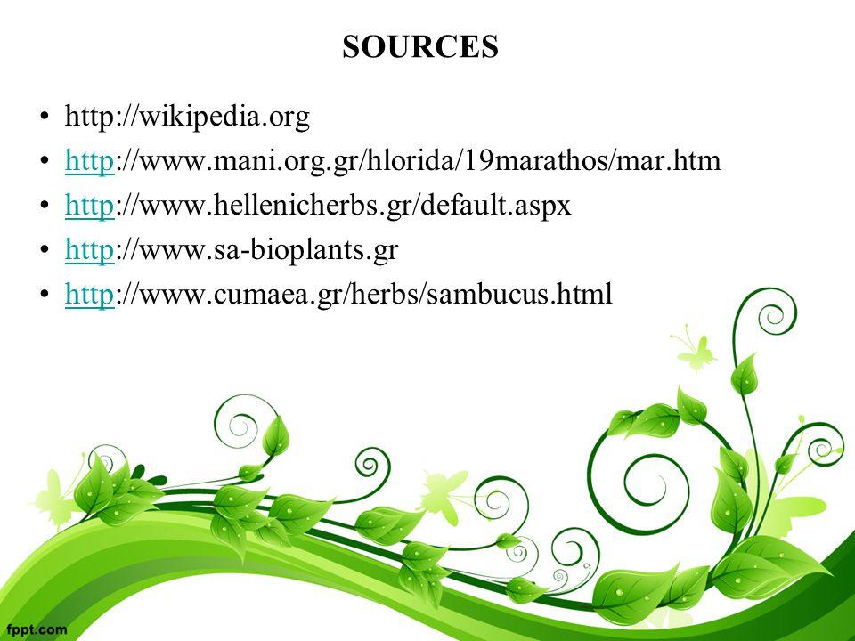 SOURCES http://wikipedia.org http://www.mani.org.gr/hlorida/19marathos/mar.htmhttp http://www.hellenicherbs.gr/default.aspxhttp http://www.sa-bioplants.grhttp http://www.cumaea.gr/herbs/sambucus.htmlhttp