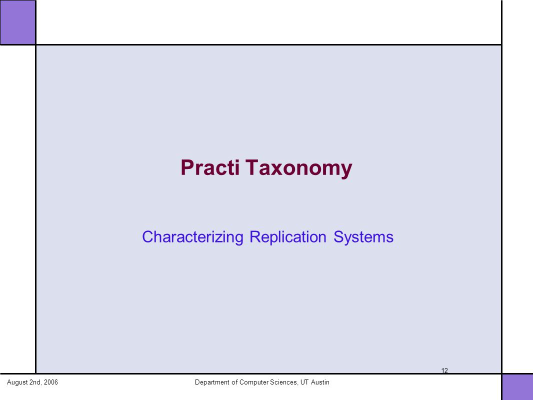 August 2nd, 2006Department of Computer Sciences, UT Austin 12 Practi Taxonomy Characterizing Replication Systems