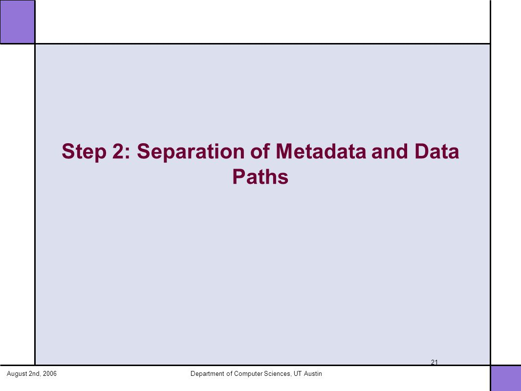 August 2nd, 2006Department of Computer Sciences, UT Austin 21 Step 2: Separation of Metadata and Data Paths