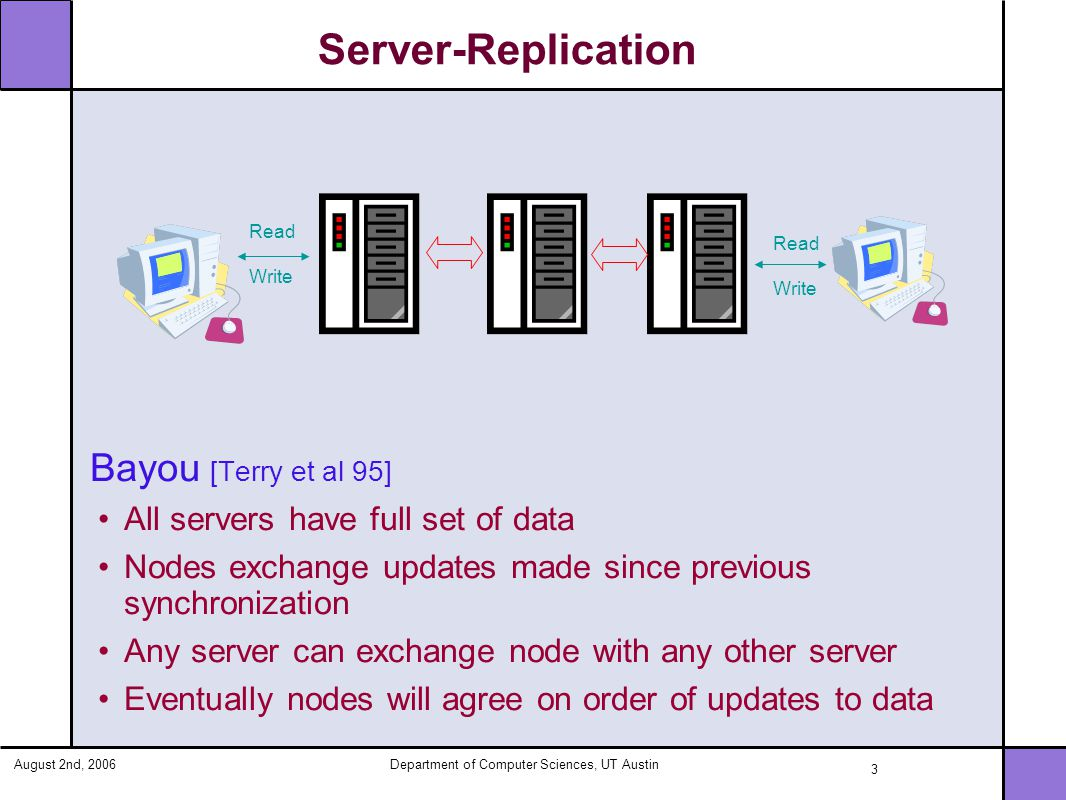 August 2nd, 2006Department of Computer Sciences, UT Austin 4 Client-Server Model Coda [Kistler et al 92] Data cached on client machine Callbacks established for notification of change Clients can get updates only from server Read A Write A A modified