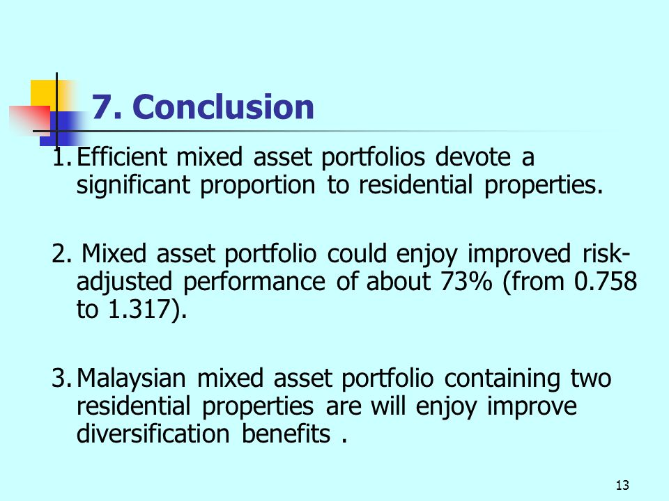 13 7. Conclusion 1.Efficient mixed asset portfolios devote a significant proportion to residential properties. 2. Mixed asset portfolio could enjoy im